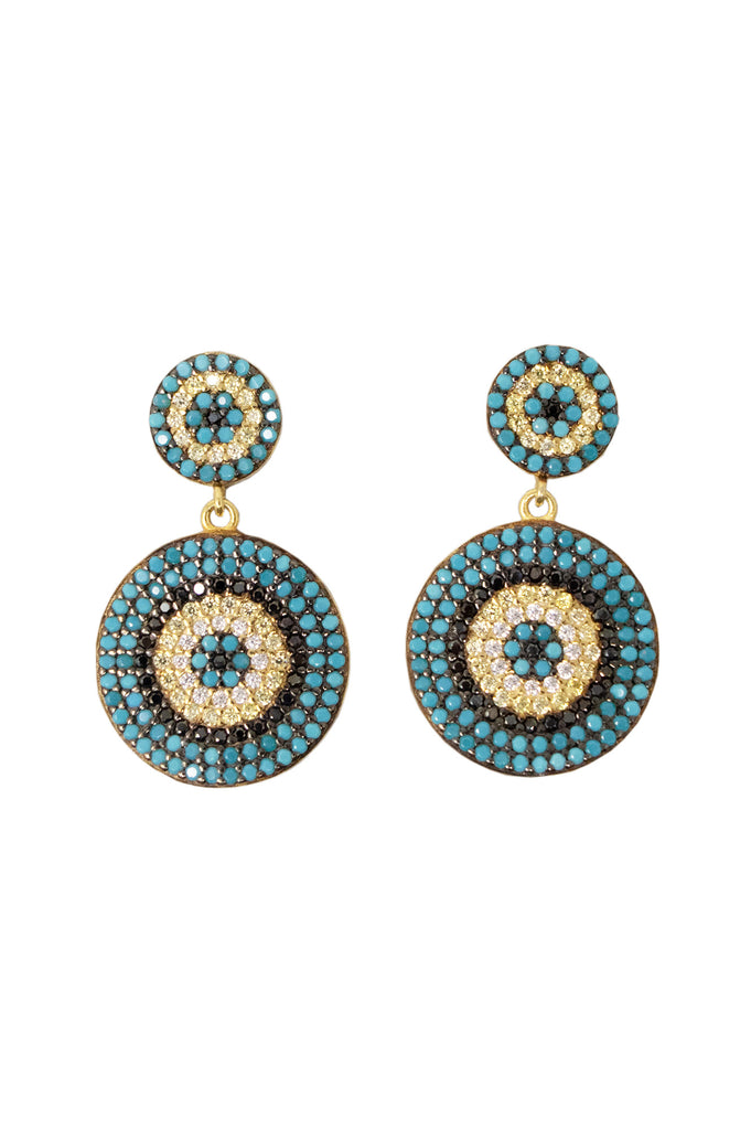 Moreau Beaded Earrings by Boho Betty | Gold/Blue
