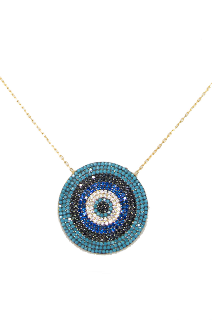 Briottet Disc Beaded Necklace by Boho Betty | Gold/Blue - Aspiga