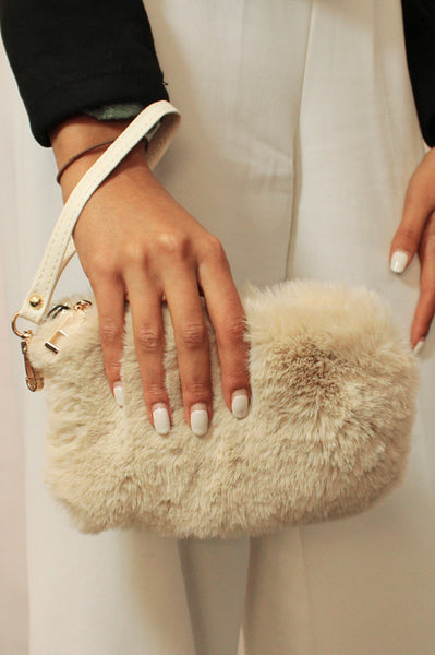 Faux Fur Clutch/Crossbody | Camel