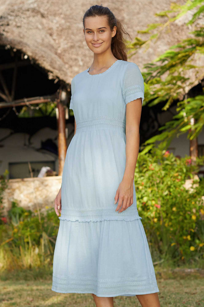 Carmela Organic Cotton Midi Lace Dress | Light Blue - Aspiga