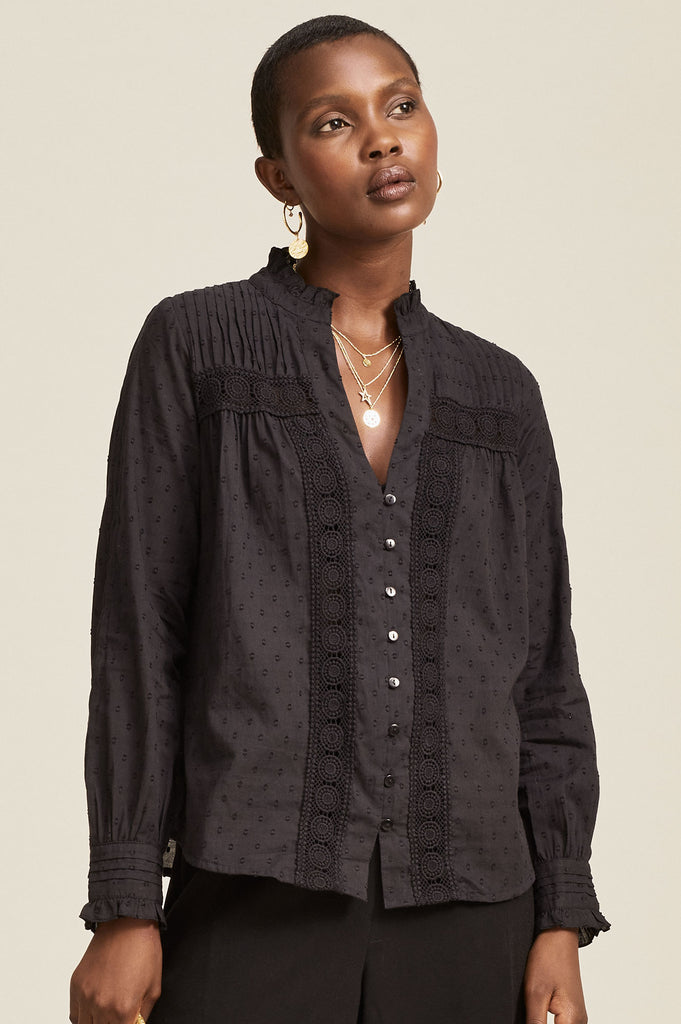 Carrie Organic Cotton Dobby Lace Blouse | Black