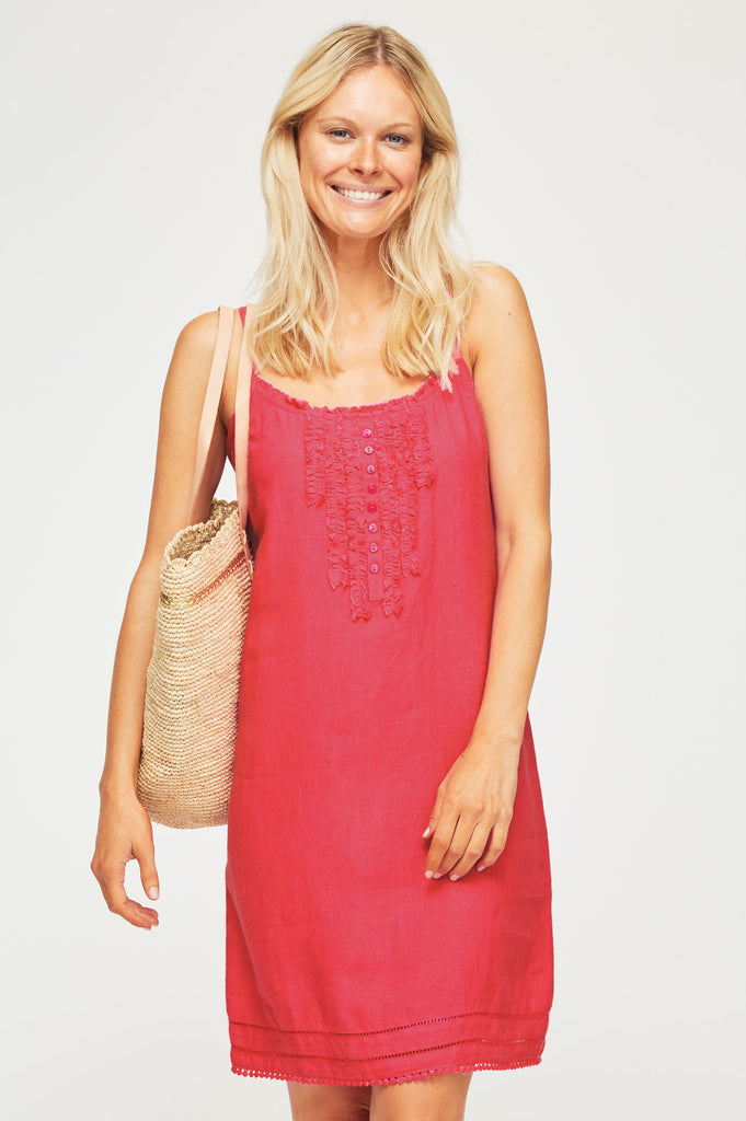 Cayo Linen Sundress | Bright Coral