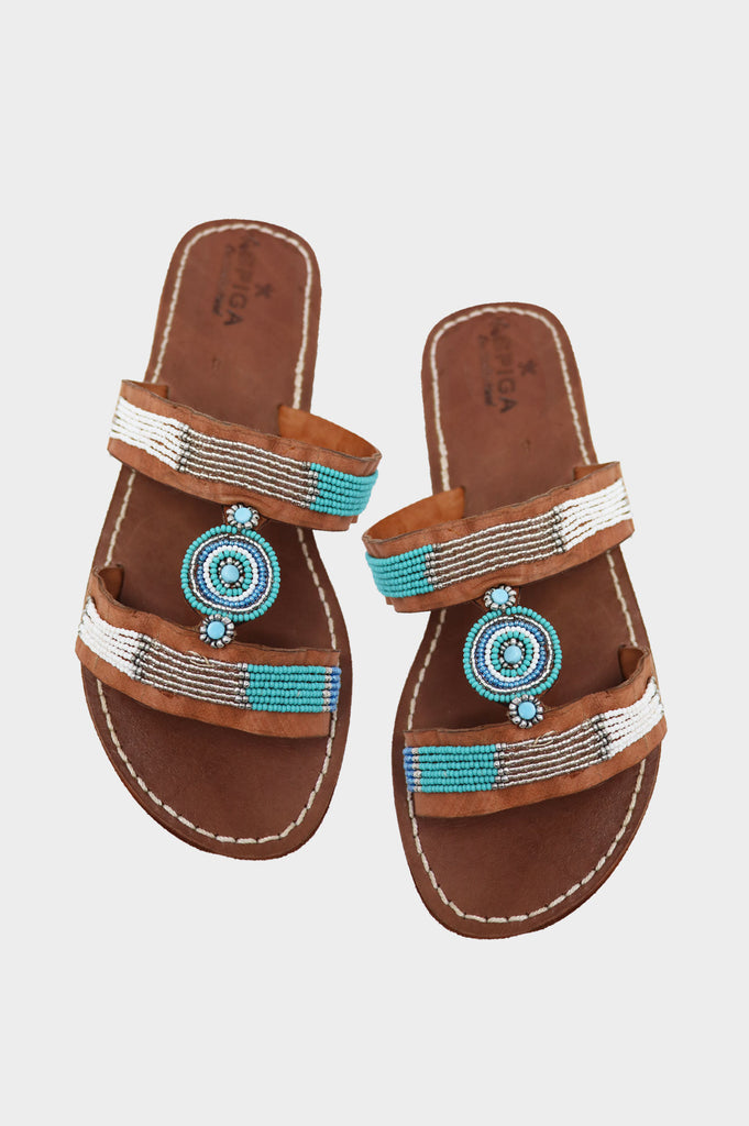 Clea Sandal | Sea Green Metallics - Aspiga
