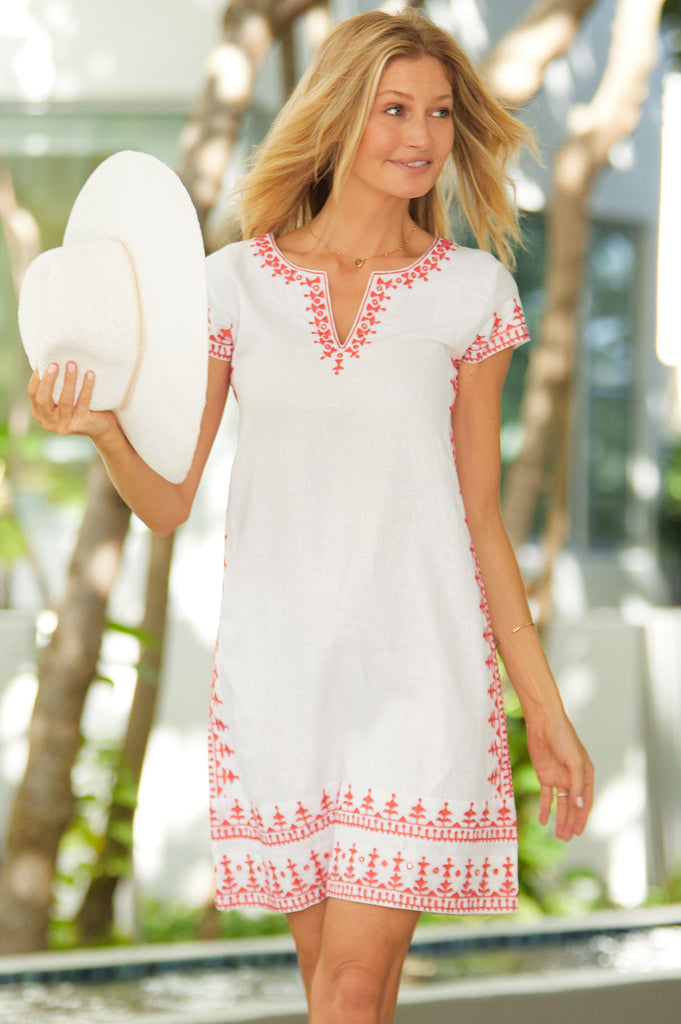 Como Embroidered Linen Dress by Sulu | White/Coral - Aspiga