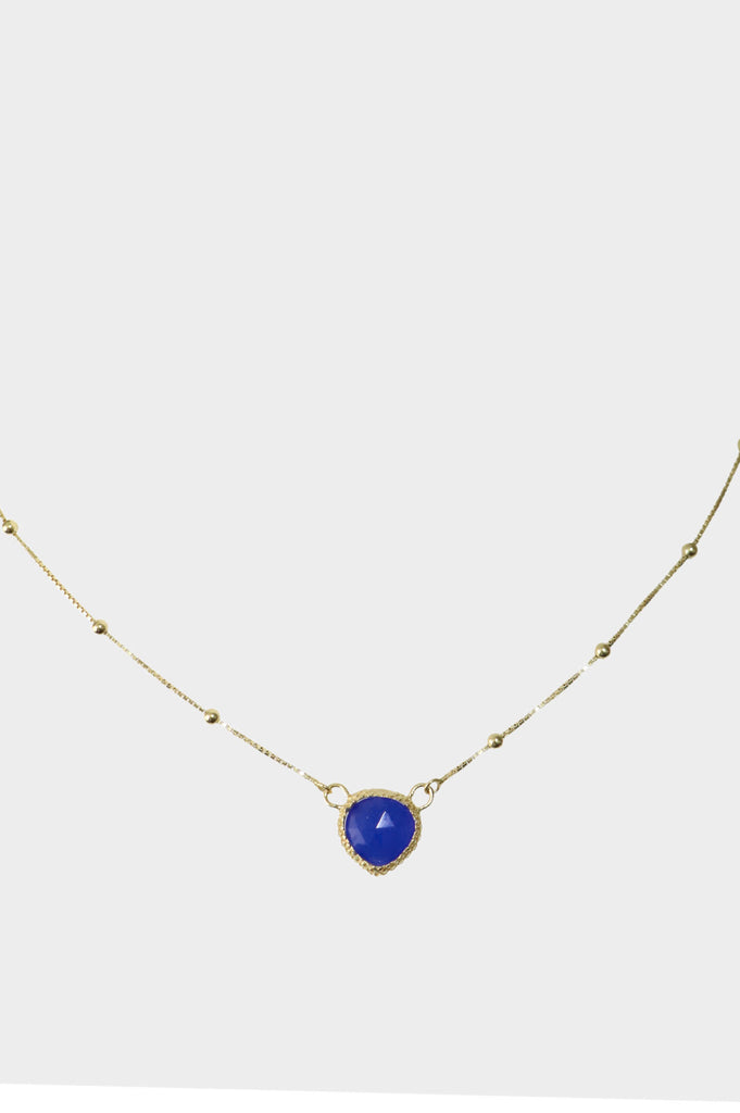 Stone Pendant Necklace | Deep Blue Chalcedony