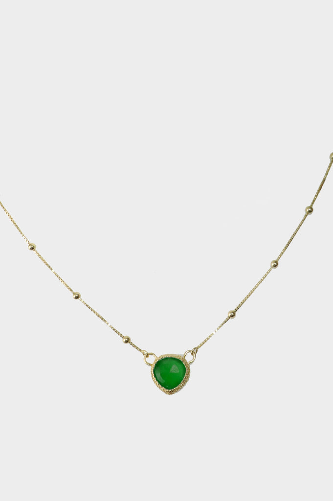 Stone Pendant Necklace | Green Onyx