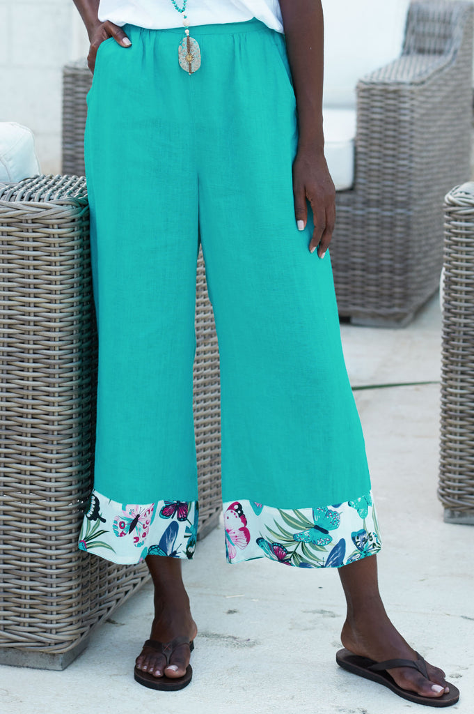 Crop Linen Trousers | Emerald - Aspiga