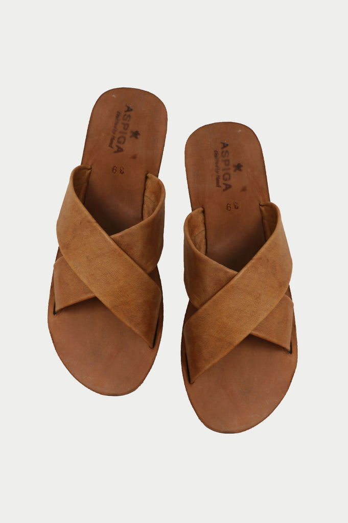 Cross Strap Sandals | Tan - Aspiga