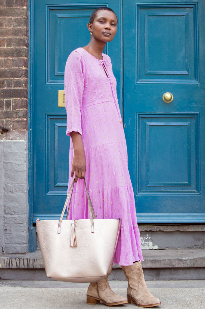 Crystal Embroidered Organic Cotton Midi Dress | Lilac