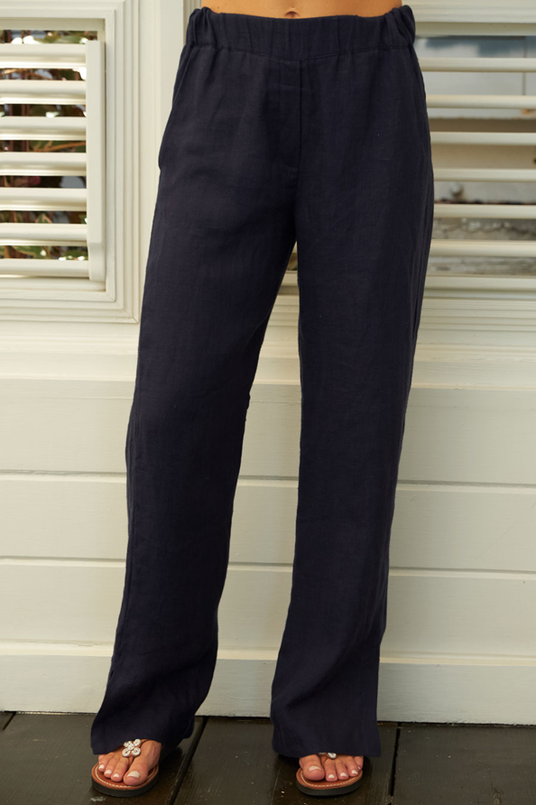 Wide-Leg Linen Trousers | Navy