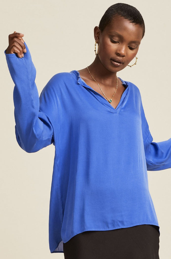 Dana Silk Blouse | Cobalt Blue