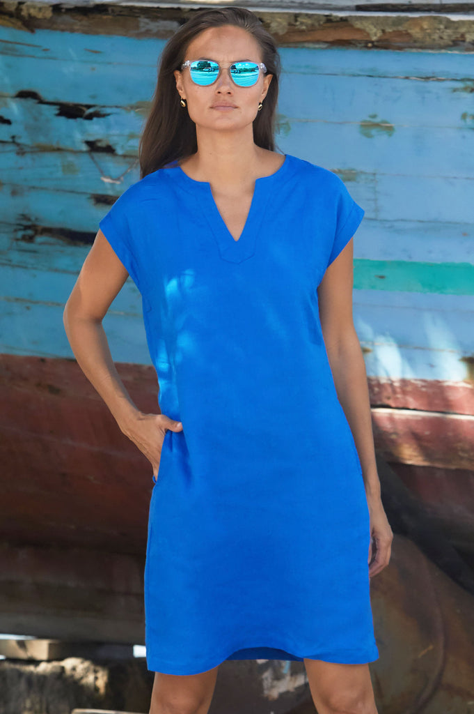 Dori Linen Dress | Cobalt Blue - Aspiga