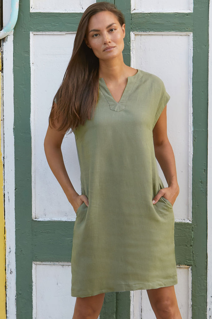 Dori Linen Dress | Khaki - Aspiga