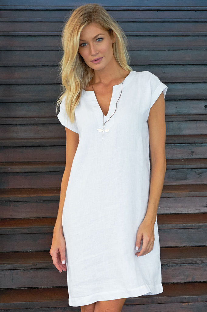 Dori Linen Dress | White - Aspiga