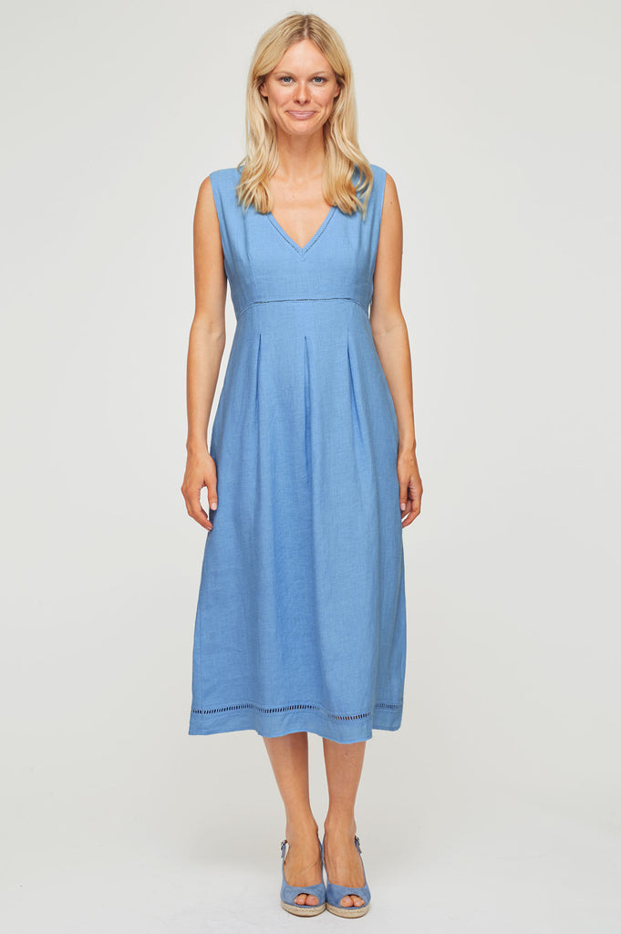 d075f6e889c Elenor Linen Midi Dress Powder Blue