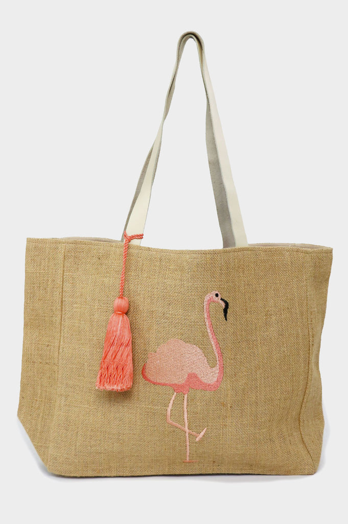 Flamingo Jute Beach Bag | Pink