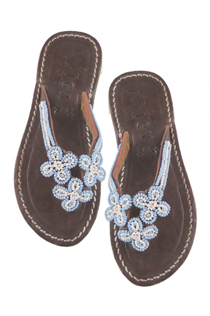 Girls 3 Flower Flip Flop | Blue - Aspiga