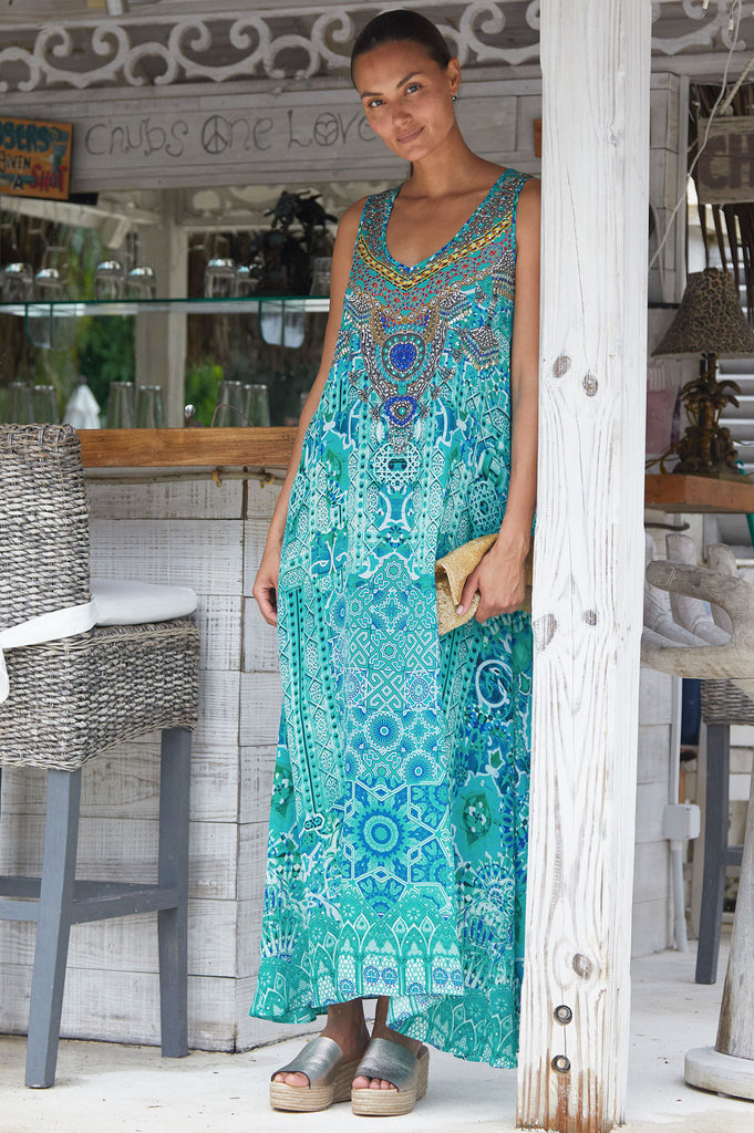 Flowing Maxi Silk Dress by Inoa | Turquoise - Aspiga