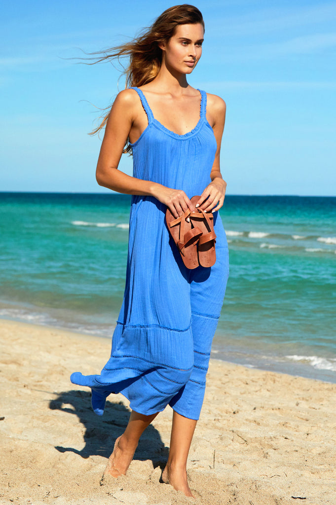Frankie Organic Cotton Maxi Dress | Marina Blue