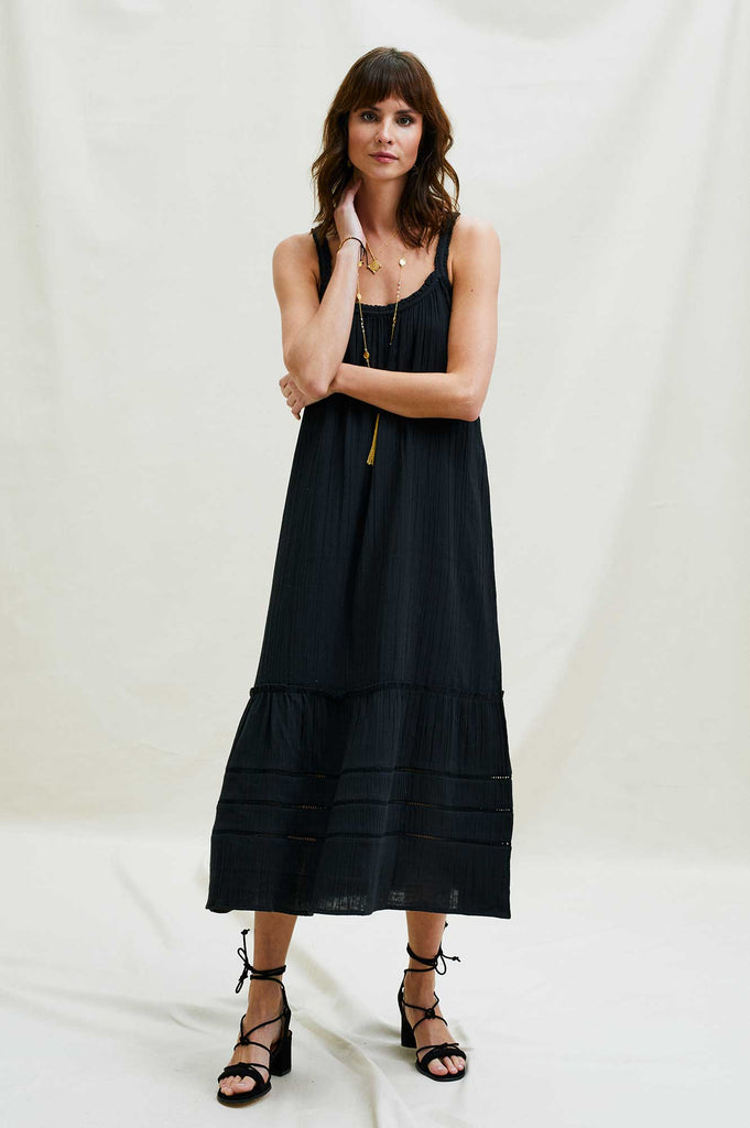 Frankie Organic Cotton Maxi Dress | Black