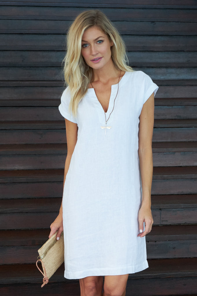 Dori Linen Dress | White