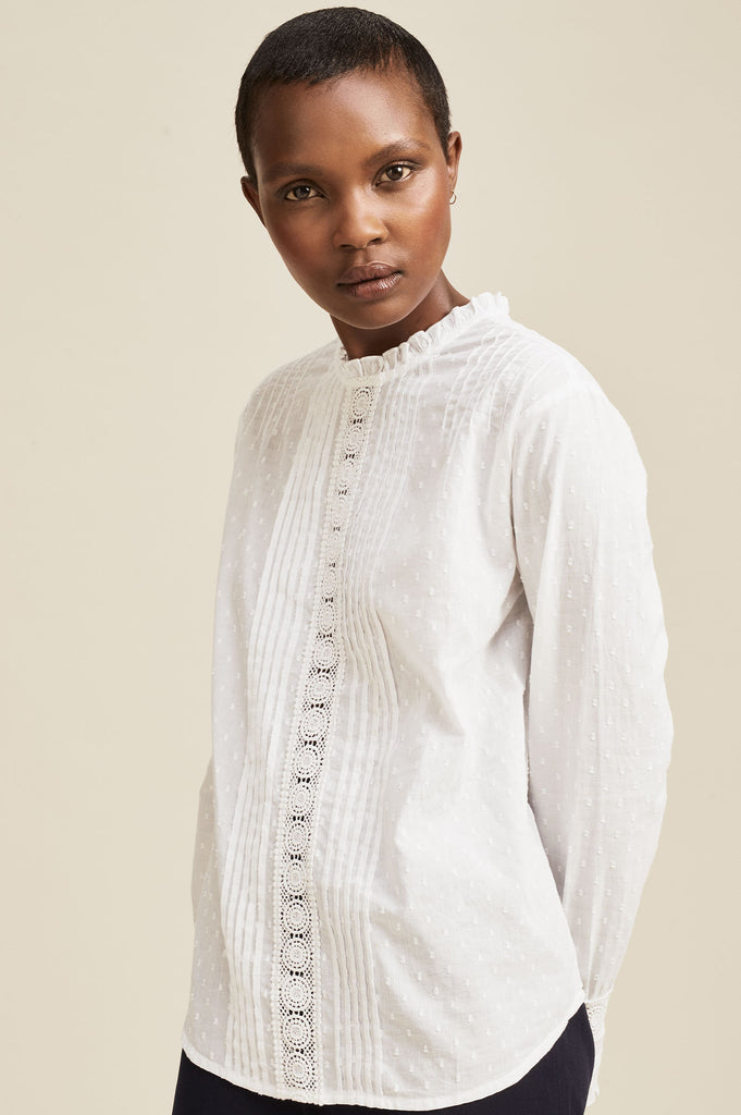 Gina Frill Organic Cotton Dobby Blouse | White