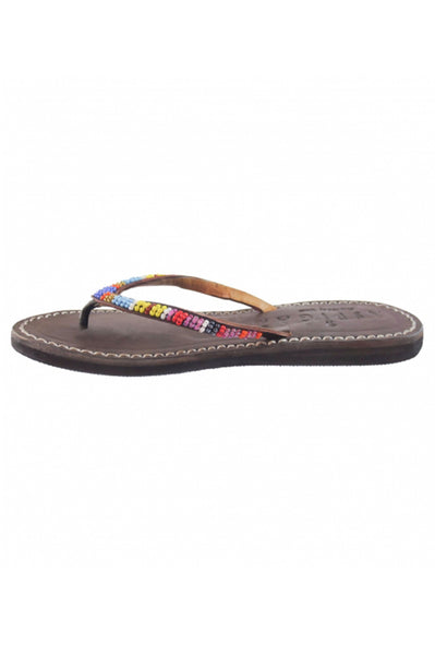 Kids Classic Beaded Leather Flip Flop | Multi