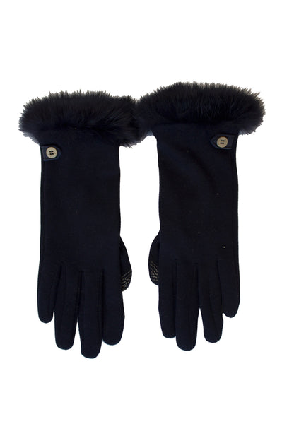 Jersey Fur Gloves by Santacana | Navy
