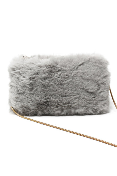 Faux Fur Clutch/Crossbody | Light Grey