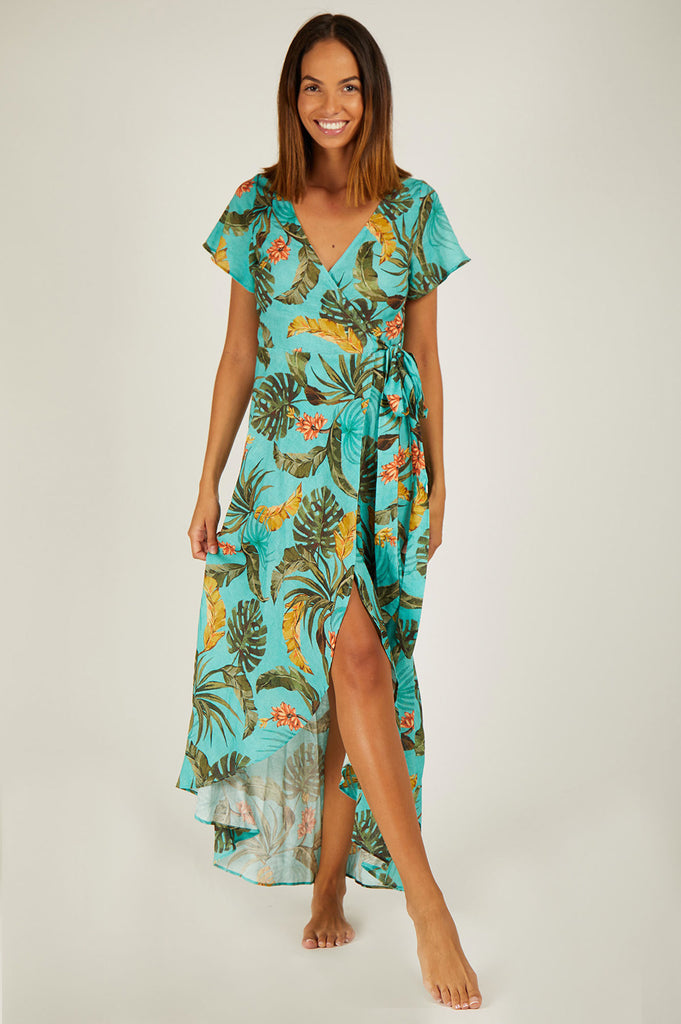 Gulia Wrap Dress by Banana Moon | Palm Turquoise - Aspiga