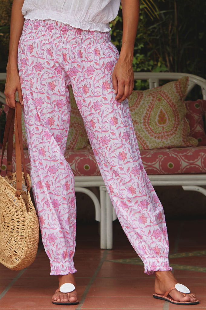 Harem Organic Cotton Trousers | Flower Pink - Aspiga