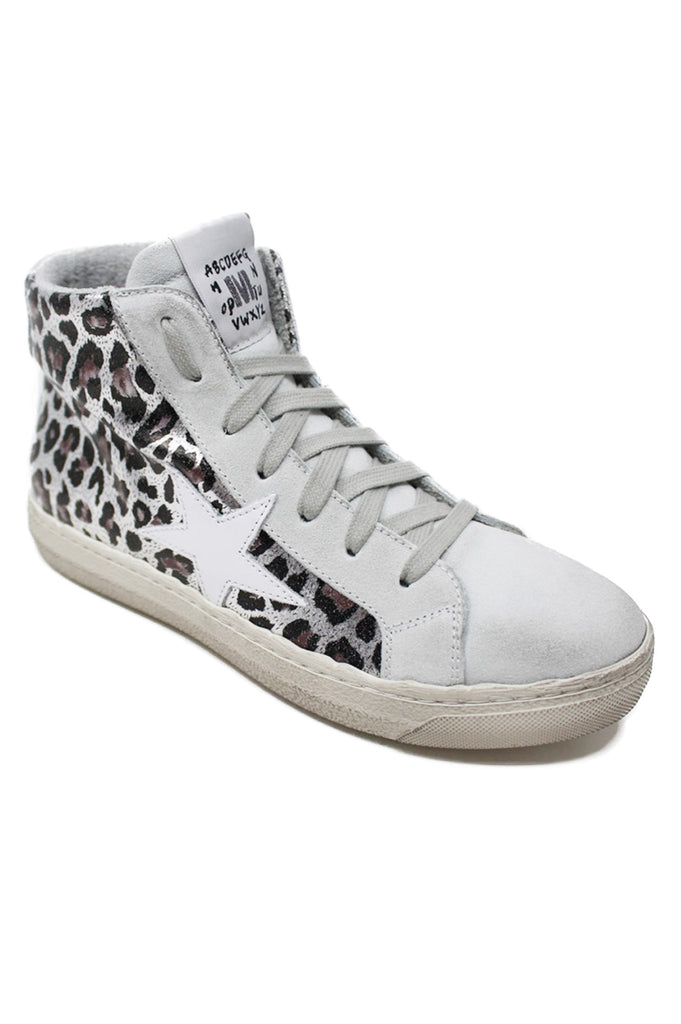High Top Star Trainers | White/Leopard