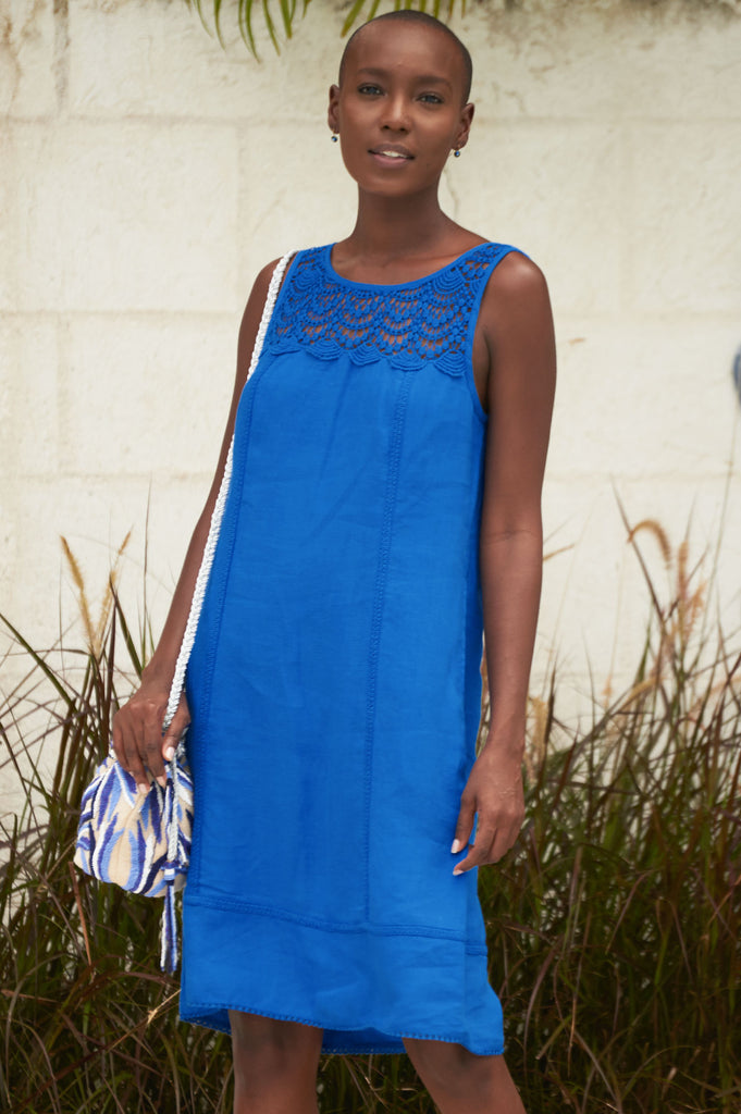 Sienna Linen Dress | Cobalt Blue - Aspiga