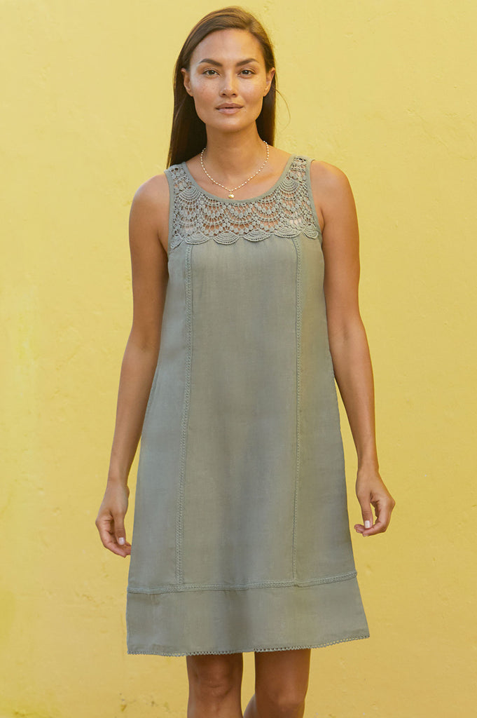 Sienna Linen Dress | Khaki - Aspiga