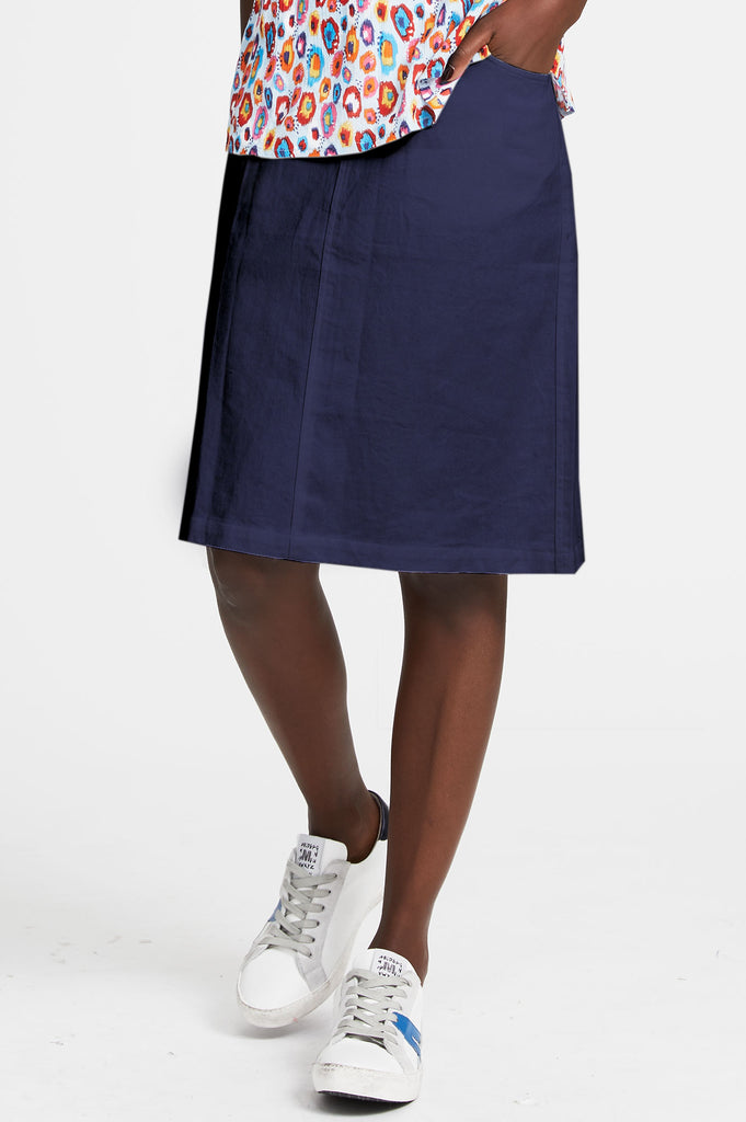 Sol Organic Cotton Knee Length Skirt | Navy - Aspiga