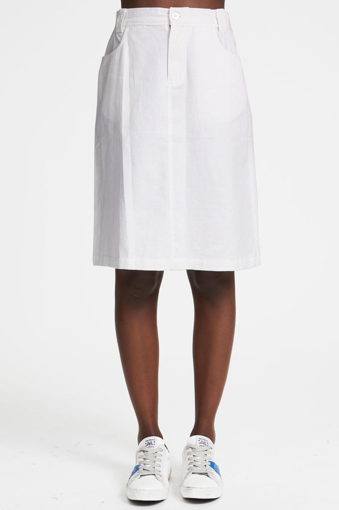 Sol Organic Cotton Knee Length Skirt | White - Aspiga
