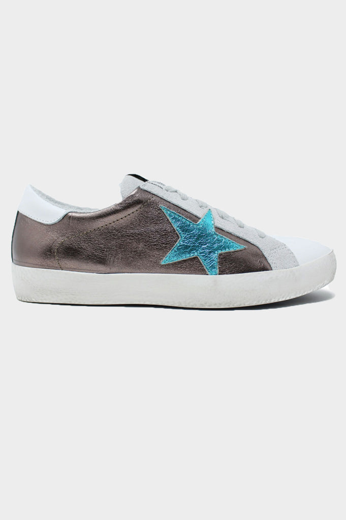 Leather Star Trainers | Bronze/Turquoise