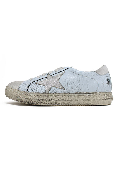 Leather Star Trainers | Dove Light Blue