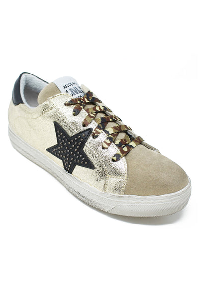 Leather Star Trainers | Gold/Black