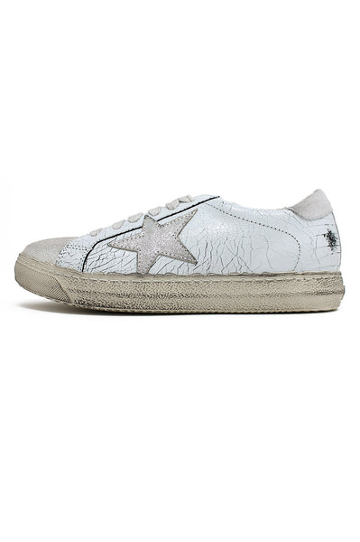 Leather Star Trainers | White/Silver