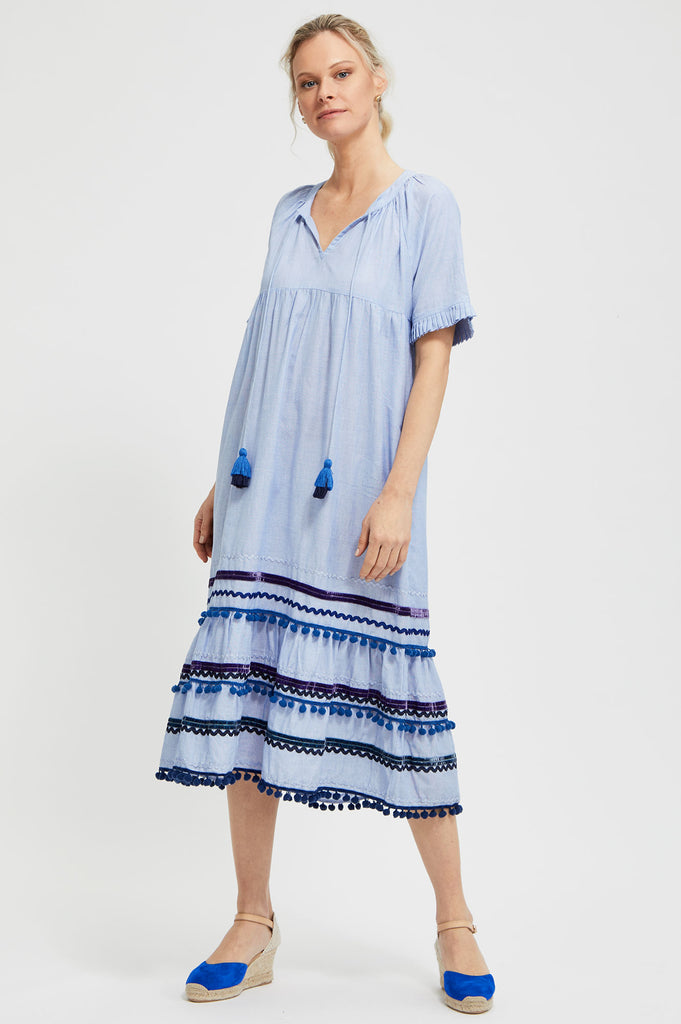 Rita Embroidered Dress by Rose and Rose | Blue - Aspiga