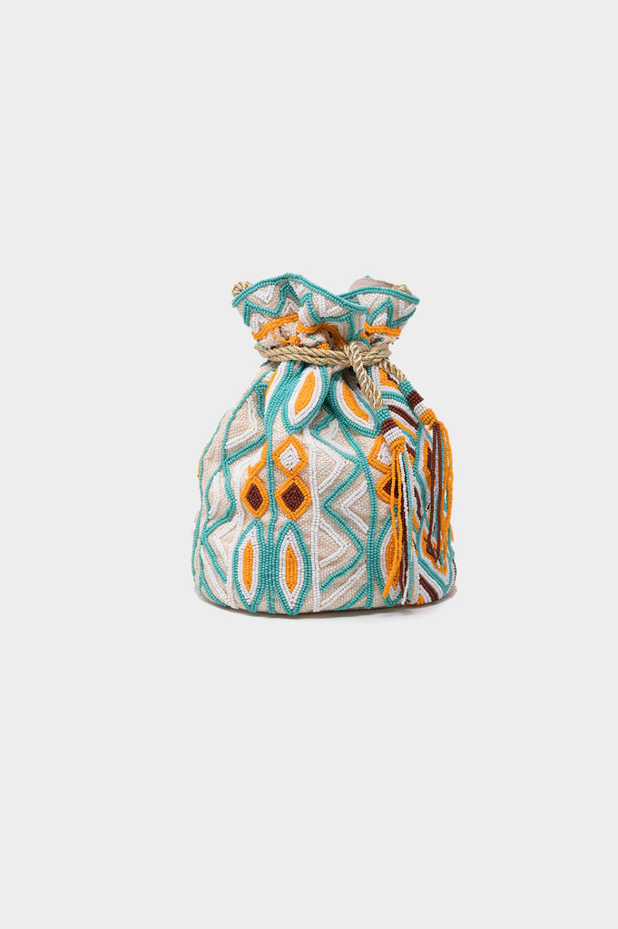 Lizzie Pouch Bag | Sea Green/White/Light Orange