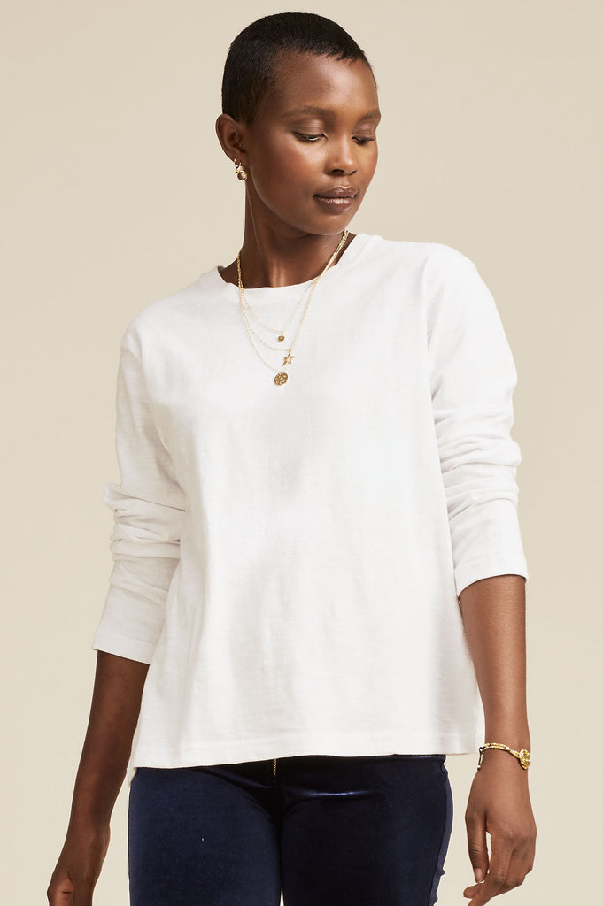 Belle Long Sleeved Organic Cotton T-shirt | White