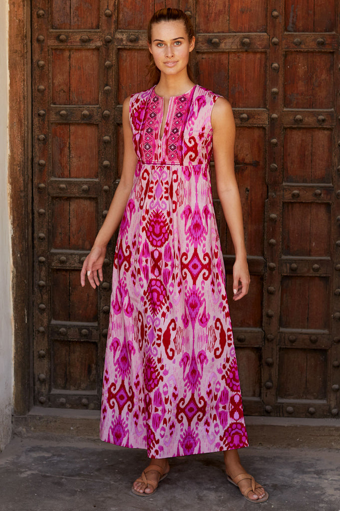 Lotus Embroidered Organic Cotton Maxi Dress | Pink City - Aspiga
