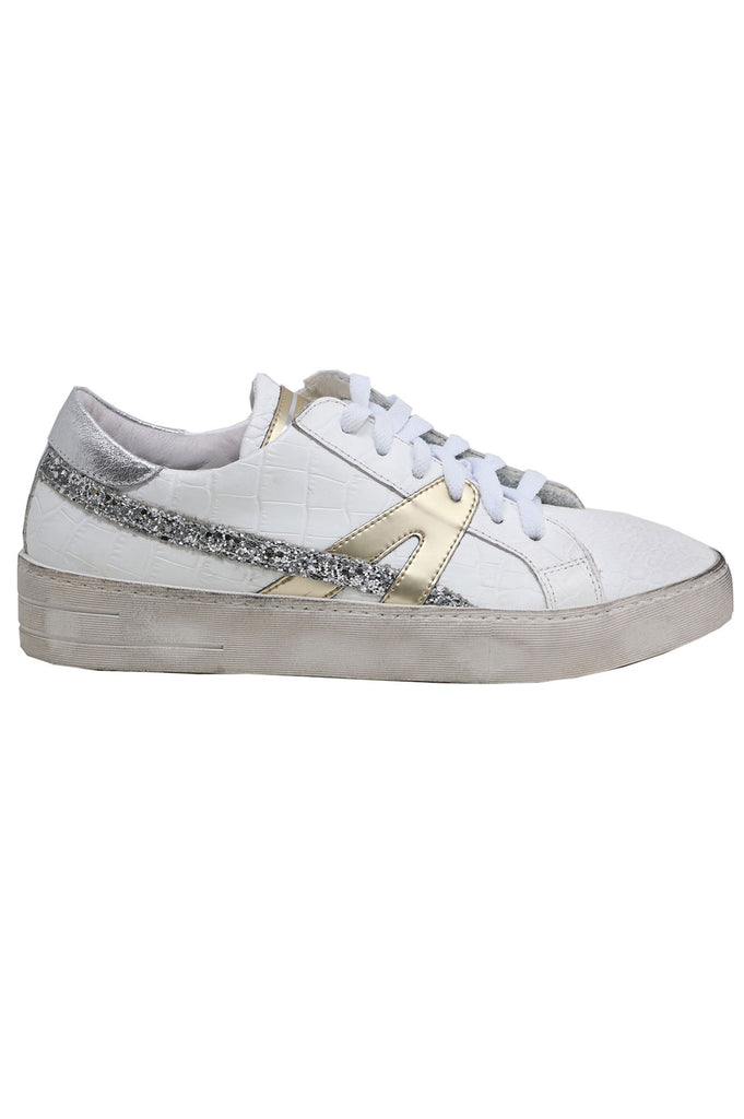 Crocodile Embossed Leather Trainers | White/Gold