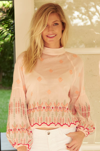 Mariana Embroidered Cotton Blouse | Peach/Coral