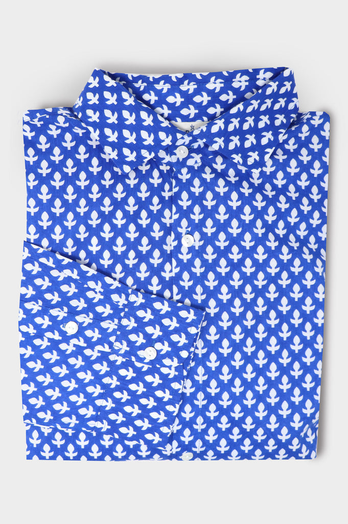 Men's Organic Cotton Shirt | Leaf Blue