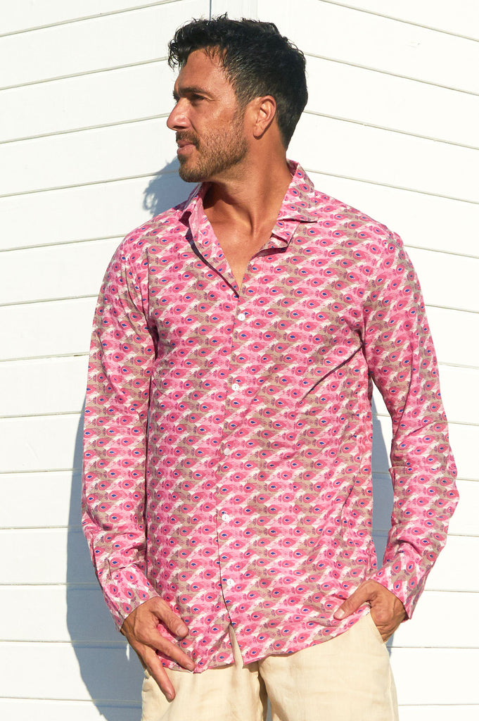 Men's Organic Cotton Shirt | Peacock Pink/Grey