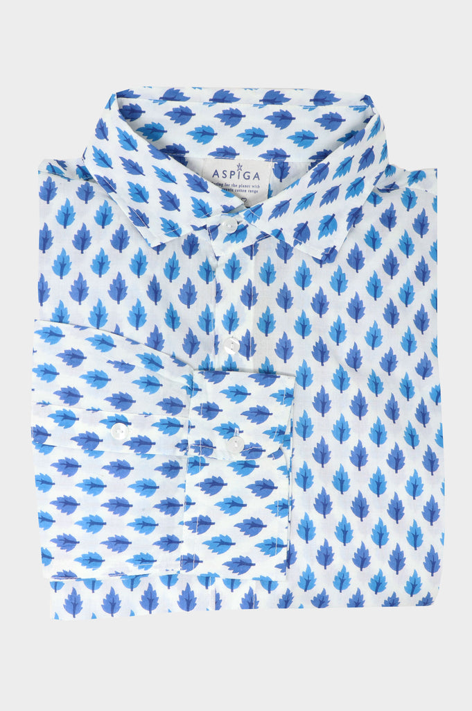 Men's Organic Cotton Shirt | Tree Turquoise/White