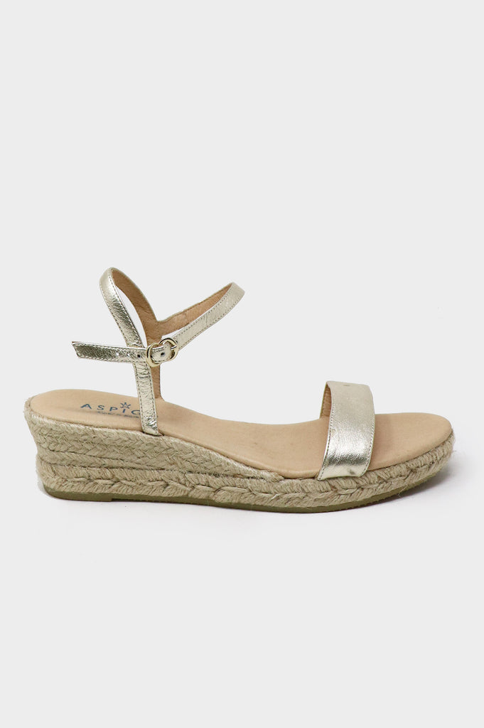 Moli Low Wedge Espadrilles | Gold - Aspiga